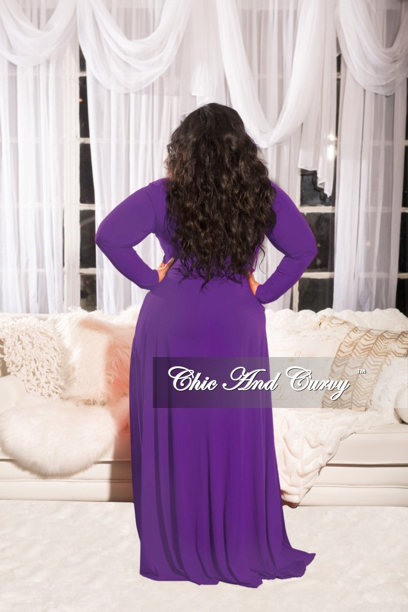 9aae7119b50b Final Sale Plus Size Long Dress with Attached Tie in Purple – Chic And Curvy