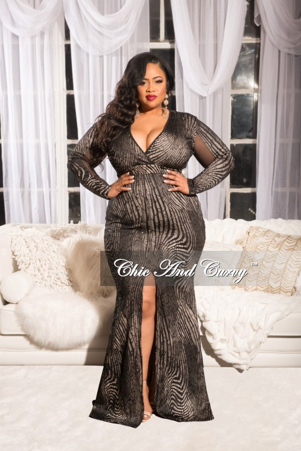 Final Sale Plus Size Long Sleeve Sequin Gown with Side Mesh Panel ...