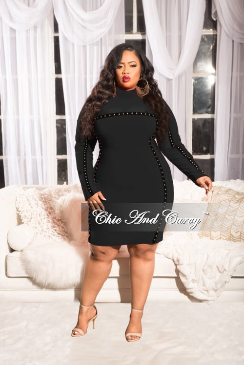 Final Sale  Plus Size Long Sleeve Mesh BodyCon Dress with Black Trim and Gold Studs in Black