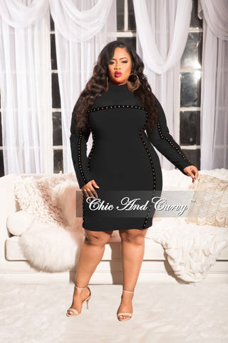 Final Sale Distressed Sweater Dress with Choker in Black