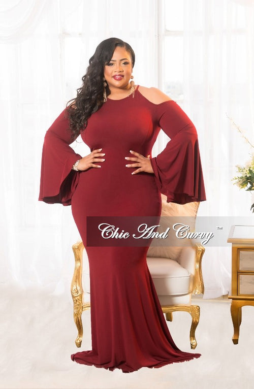 New Plus Size Cold Shoulder Gown with Bell Sleeves in Burgundy