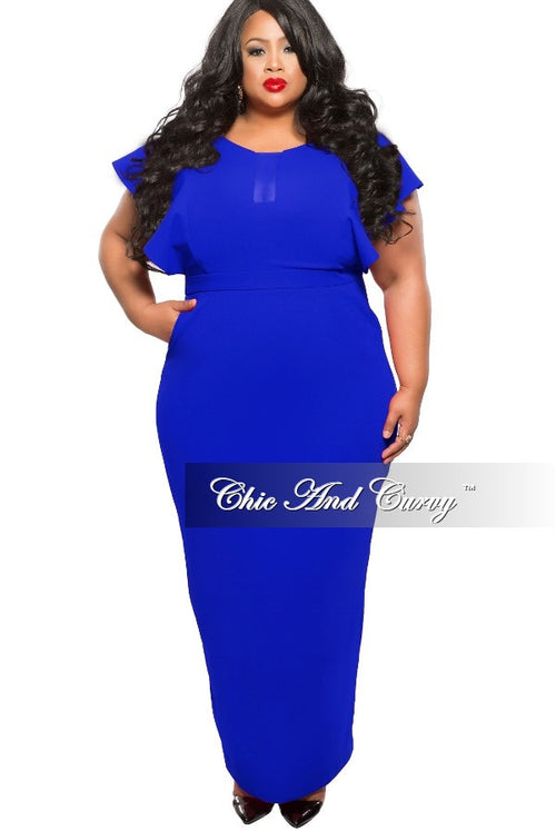 Final Sale Plus Size Long Dress with Sheer Center and Pockets in Royal Blue