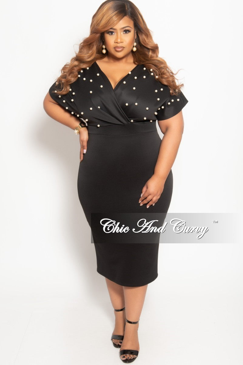 34d50b95d46 Final Sale Plus Size Pearl Beaded Faux Wrap BodyCon Dress in Black – Chic  And Curvy