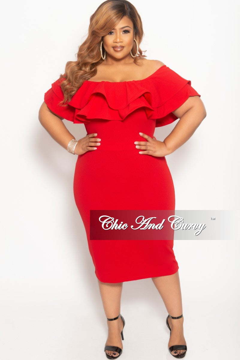 c216ed04d837b New Plus Size Off the Shoulder Ruffle BodyCon Dress in Red – Chic And Curvy