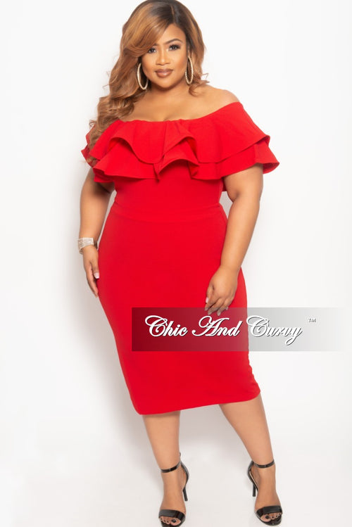 New Plus Size Off the Shoulder Ruffle BodyCon Dress in Red