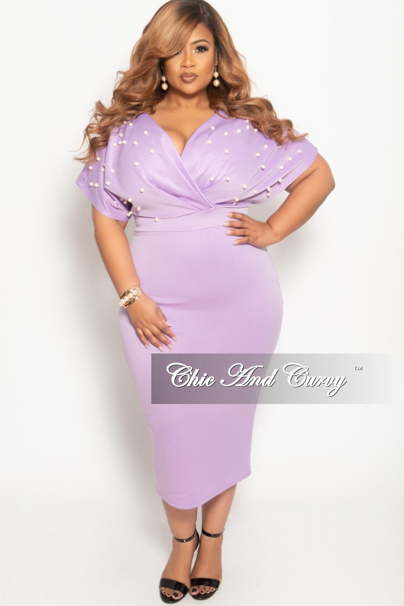 dadc61ef0c8de Final Sale Plus Size Pearl Beaded Faux Wrap BodyCon Dress in Lavender – Chic  And Curvy