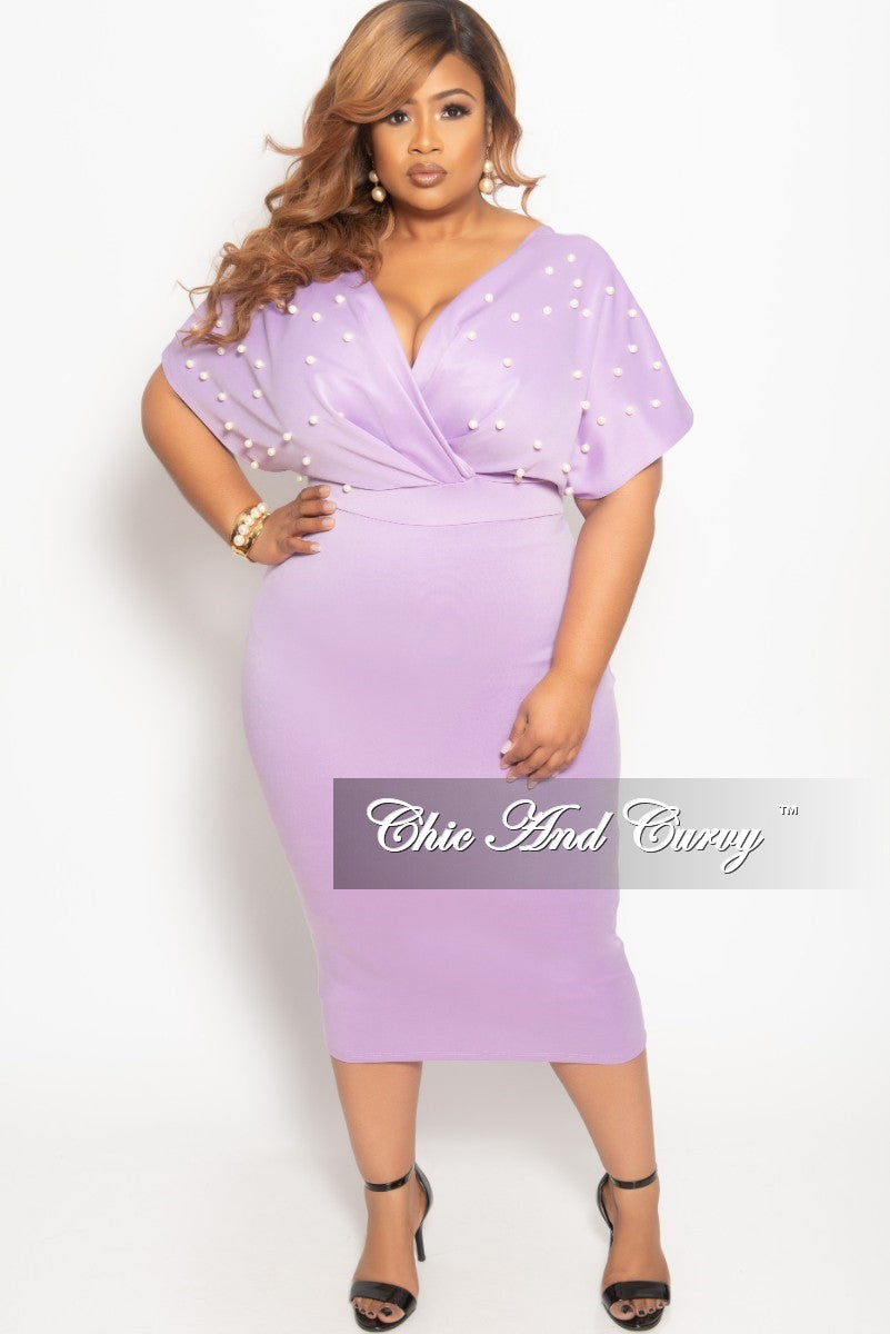 d40ad6e7f5f Final Sale Plus Size Pearl Beaded Faux Wrap BodyCon Dress in Lavender –  Chic And Curvy