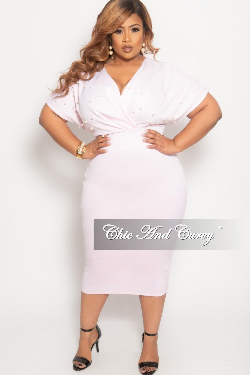 e30ae56e024 Final Sale Plus Size Pearl Beaded Faux Wrap BodyCon Dress in Light Pin –  Chic And Curvy