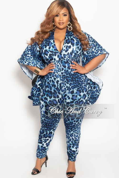 68cd8246271e New Plus Size Deep V-Neck Jumpsuit with Bell Sleeves in Navy Leopard Print