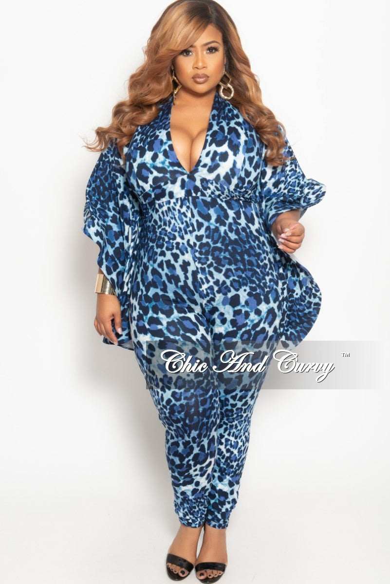 134a13004c New Plus Size Deep V-Neck Jumpsuit with Bell Sleeves in Navy Leopard Print