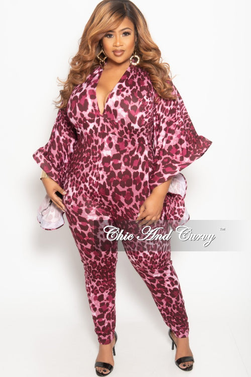 56dc5965c2 New Plus Size Deep V-Neck Jumpsuit with Bell Sleeves in Mauve Leopard Print