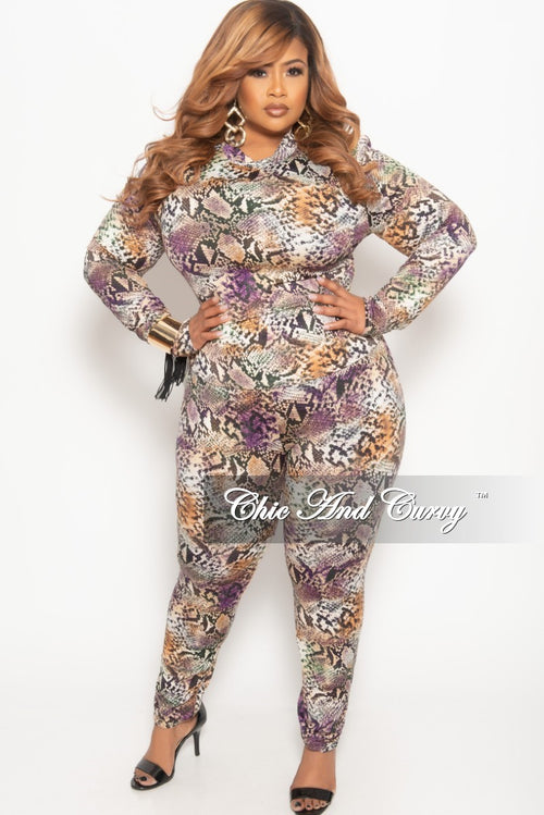 dcbff202121 Final Sale Plus Size 2-Piece Top and Pants Set with Purple Snake Skin