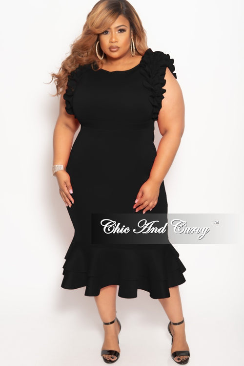 New Plus Size Sleeveless Ruffle Scuba BodyCon Dress in Black b50f91f1d