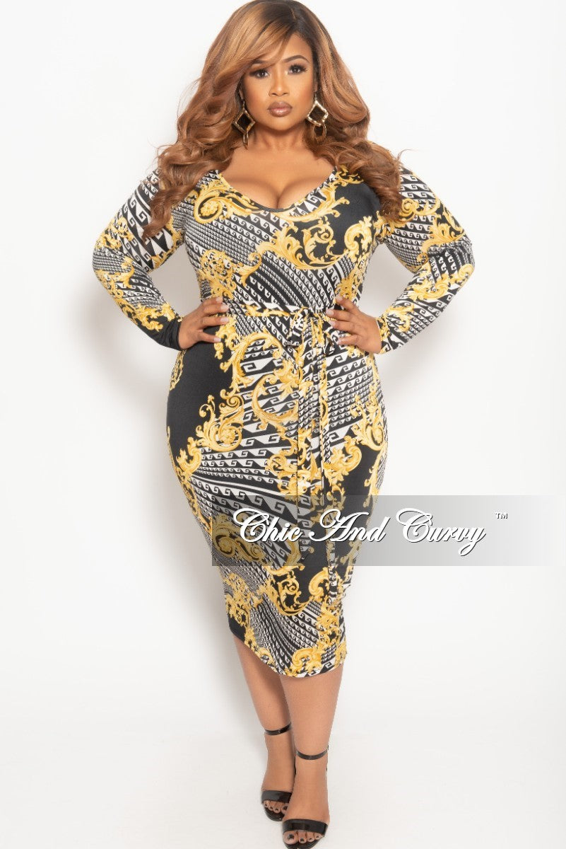 New Plus Size Long Sleeve BodyCon Dress in Black White and Gold Print