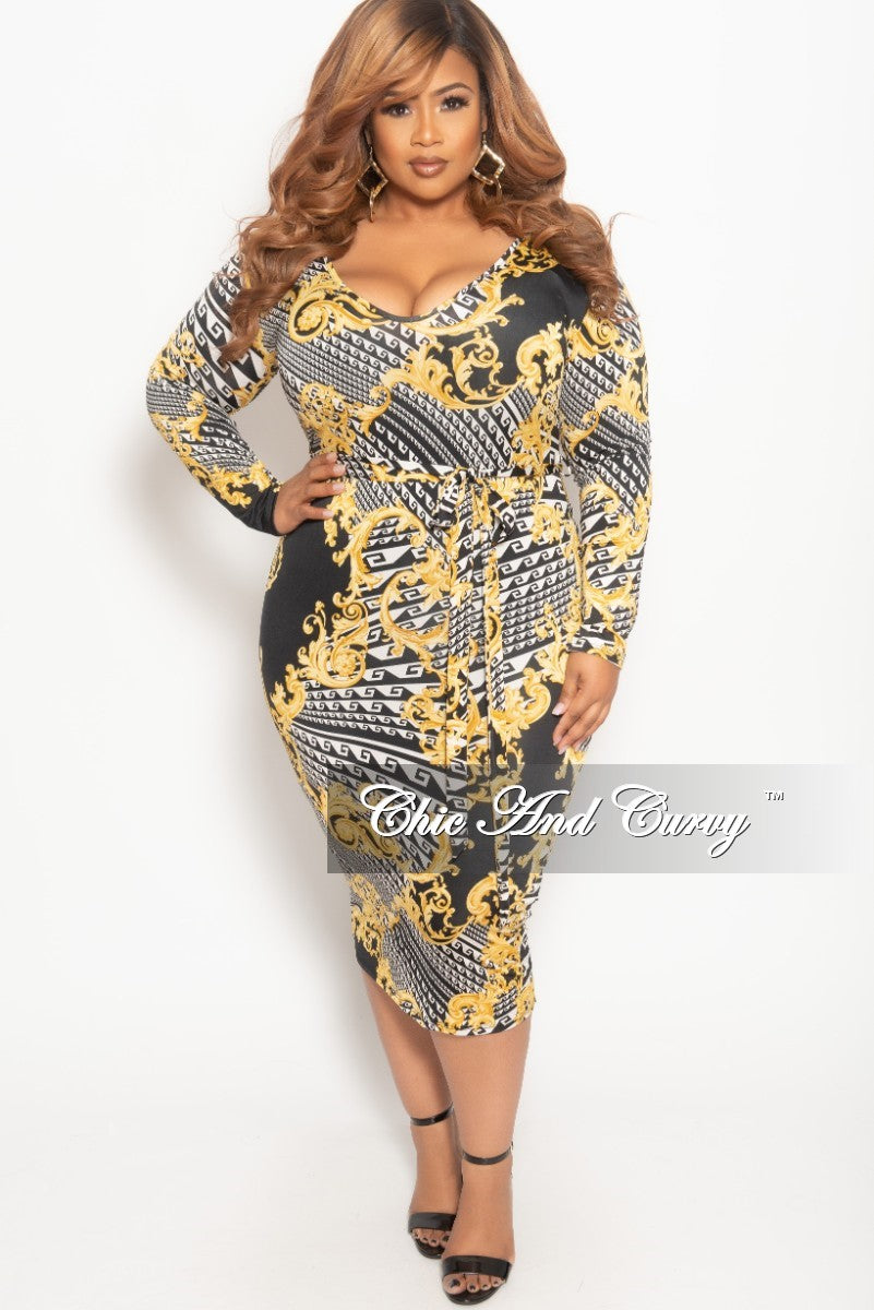 New Plus Size Long Sleeve BodyCon Dress in Black White and Gold ...