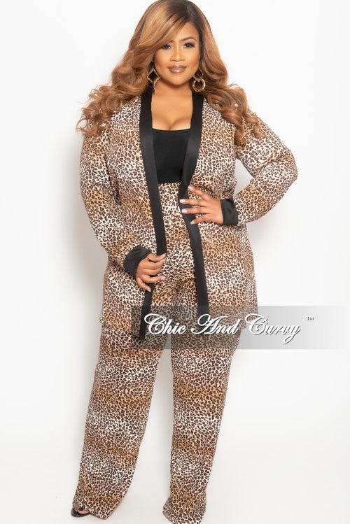 New Plus Size 2-Piece Long Duster and Pants Set in Brown Leopard Print with Black Trim