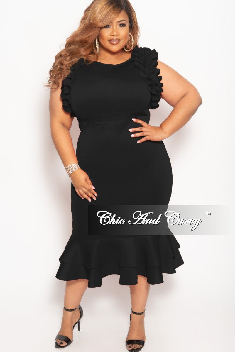 New Plus Size Sleeveless Ruffle Scuba BodyCon Dress in Black