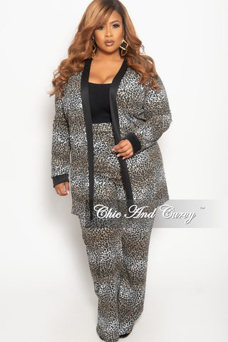 New Plus Size 2-Piece Long Sleeve Top and Pants Set in Black