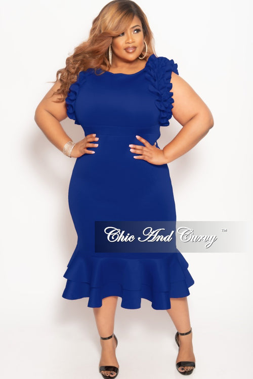 New Plus Size Sleeveless Ruffle Scuba BodyCon Dress in Royal Blue
