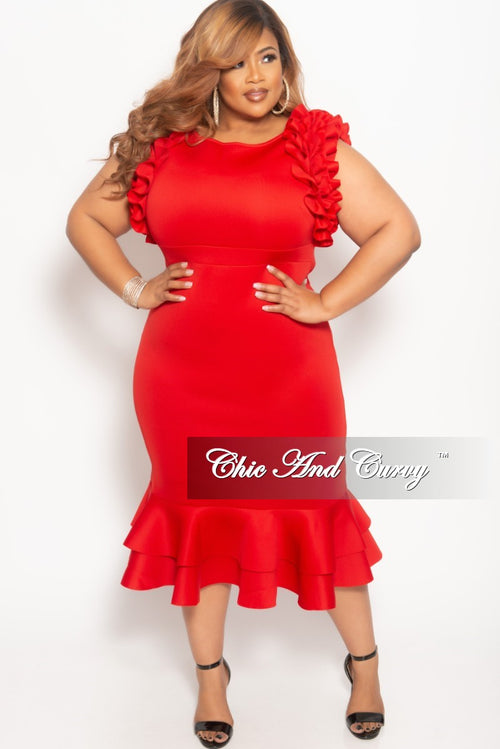 New Plus Size Sleeveless Ruffle Scuba BodyCon Dress in Red