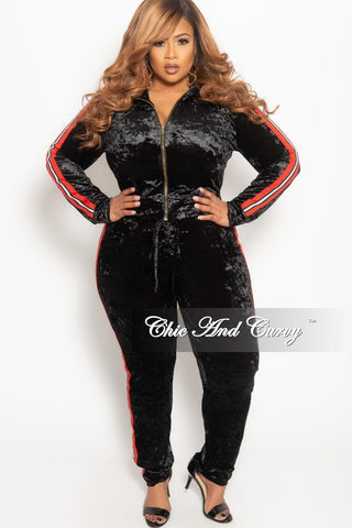 bf6b0a7f119 Final Sale Plus Size Velvet 2-Piece Zip-Up Jacket and Pants Set in Black  with Red Black and White Trim