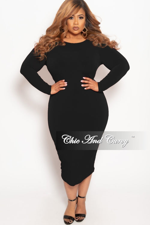 Final Sale Plus Size Long Sleeve BodyCon Dress with V-Neck Back in Black