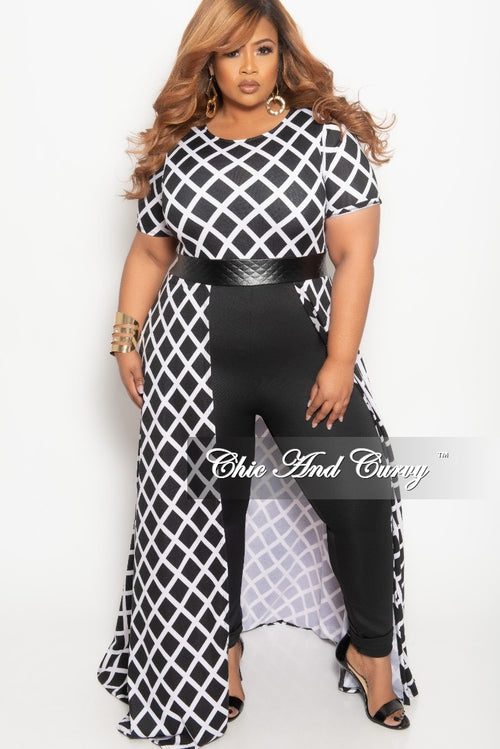 Final Sale Plus Size Jumpsuit with Attached Skirt in Black and White Print
