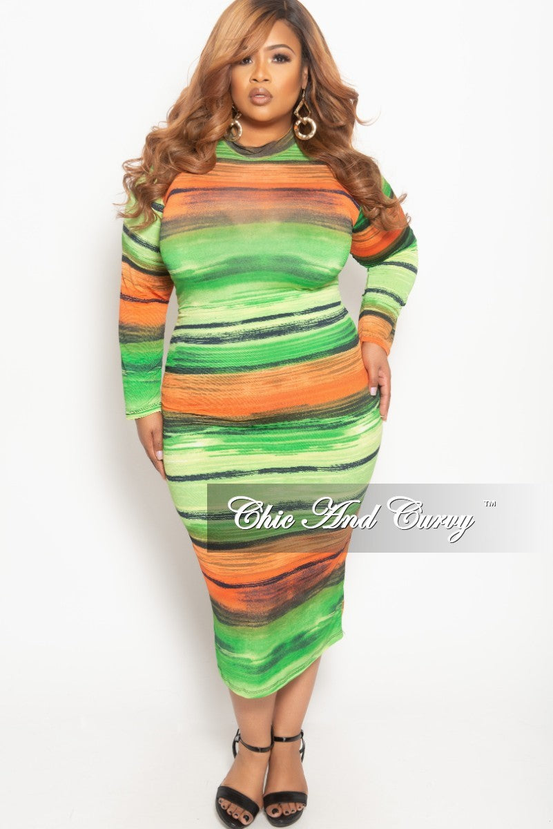 a266a0d545e9 New Plus Size Reversible Long Sleeve BodyCon Dress in Green Orange and –  Chic And Curvy