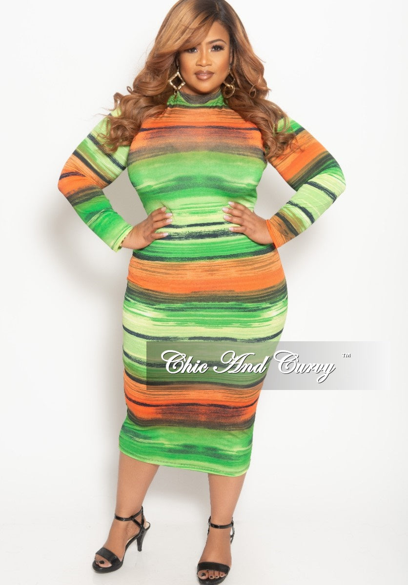 New Plus Size Reversible Long Sleeve BodyCon Dress in Green Orange and Black Print