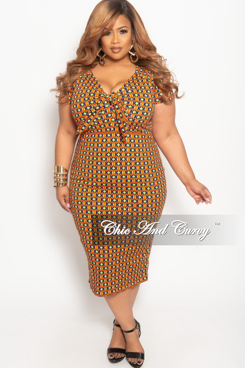 New Plus Size Bow Front Short Sleeve BodyCon Dress in Orange Royal Blue Green and White