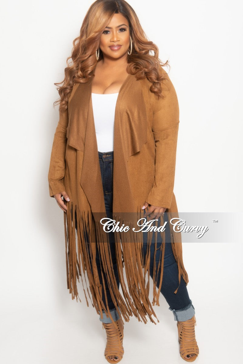New Plus Size Jacket in Faux Suede with Bottom Fringe and Tie in Brown