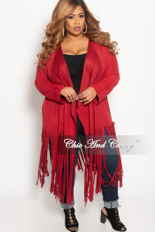 New Plus Size Jacket in Faux Suede with Bottom Fringe and Tie in Burgundy