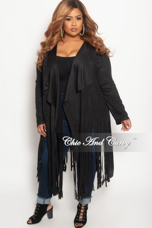 b61db74f84681 New Plus Size Jacket in Faux Suede with Bottom Fringe and Tie in Black