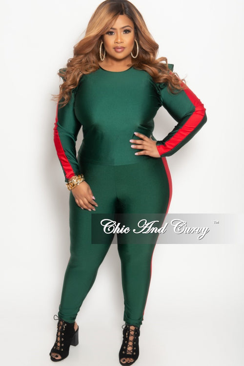 Final Sale Plus Size 2-Piece Ruffle Top and Matching Legging Set with Red Trim in Green