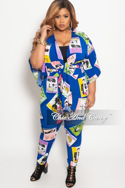 Final Sale Plus Size 2-Piece Kimono Sleeves Tie Top and Pants Set in Royal Blue Multi Color Fashion Mag Print