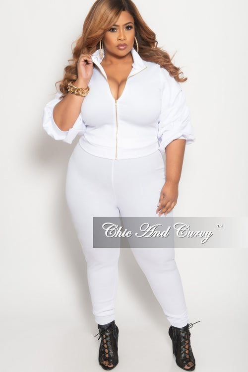 Final Sale Plus Size 2-Piece Puffy Sleeve Zip-Up Jacket and Pants Set in White