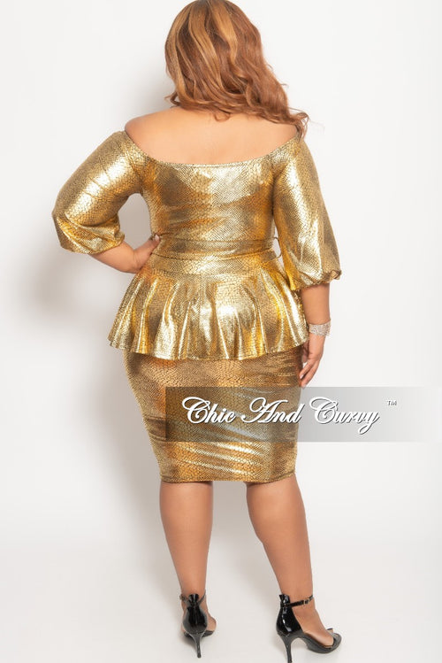 New Plus Size Off the Shoulder Peplum BodyCon Dress with Attached Tie in Gold Snake Skin Print