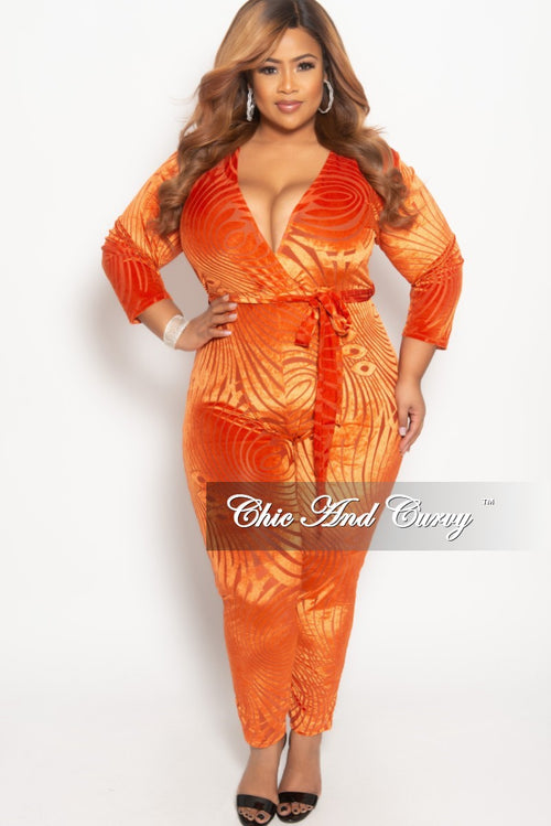 Final Sale Plus Size Faux Wrap Velvet Jumpsuit with Attached Tie in Orange