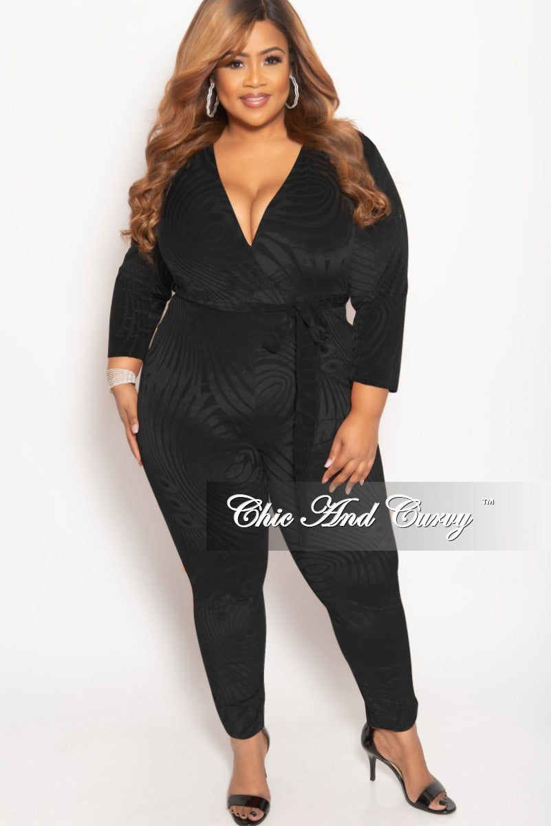 Final Sale Plus Size Faux Wrap Velour Jumpsuit With Attached Tie In Bl Chic And Curvy