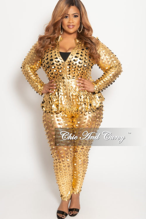 Final Sale Plus Size 2-Piece Jacket and Pant Set with Circle Laser Cutouts in Gold Liquid