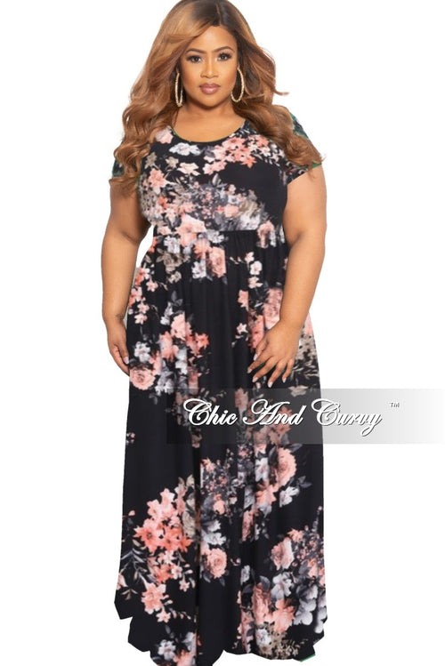 New Plus Size Short Sleeve Maxi Dress in Black Floral Print