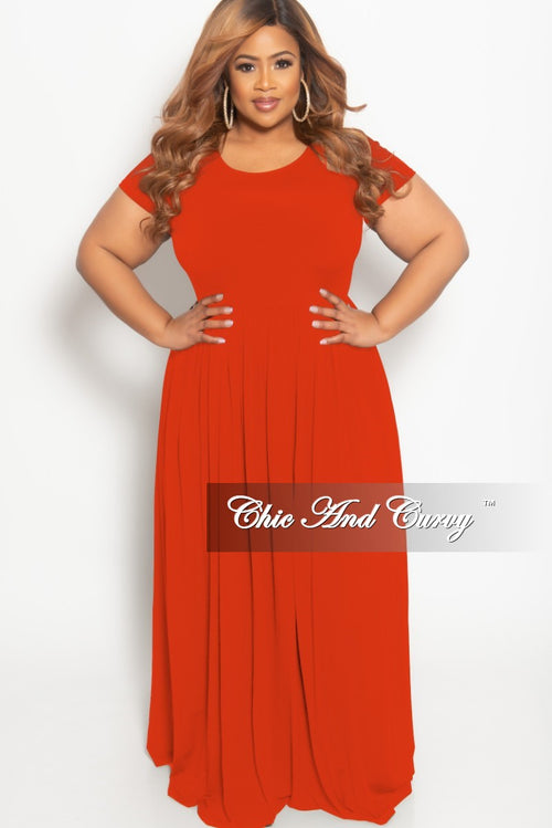 New Plus Size Flowy Maxi Dress in Orange