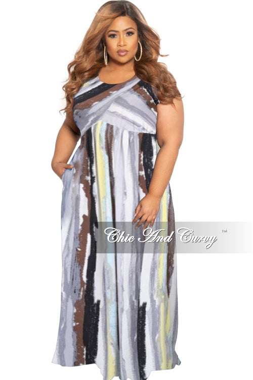 New Plus Size Tank Pocket Maxi Dress in Multicolor Brush Strokes