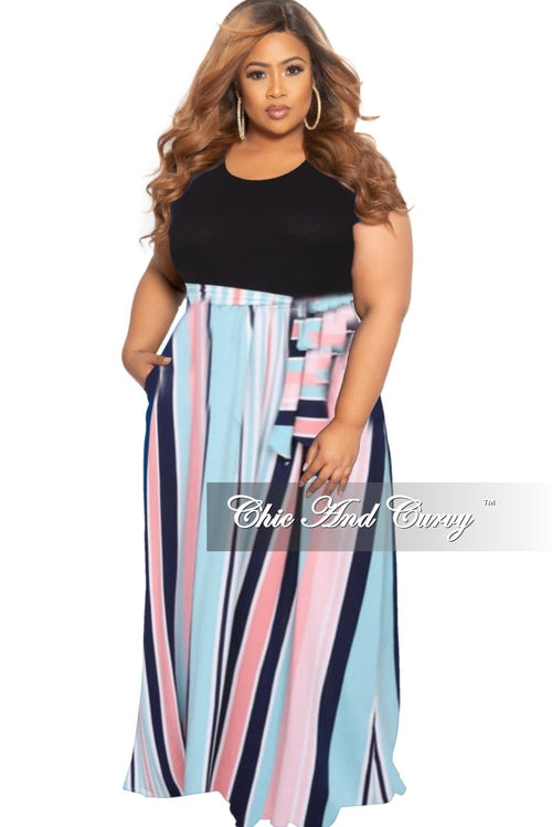 New Plus Size Tank Pocket Maxi Dress with Black top & Grey, Pink & Multicolor Stripe