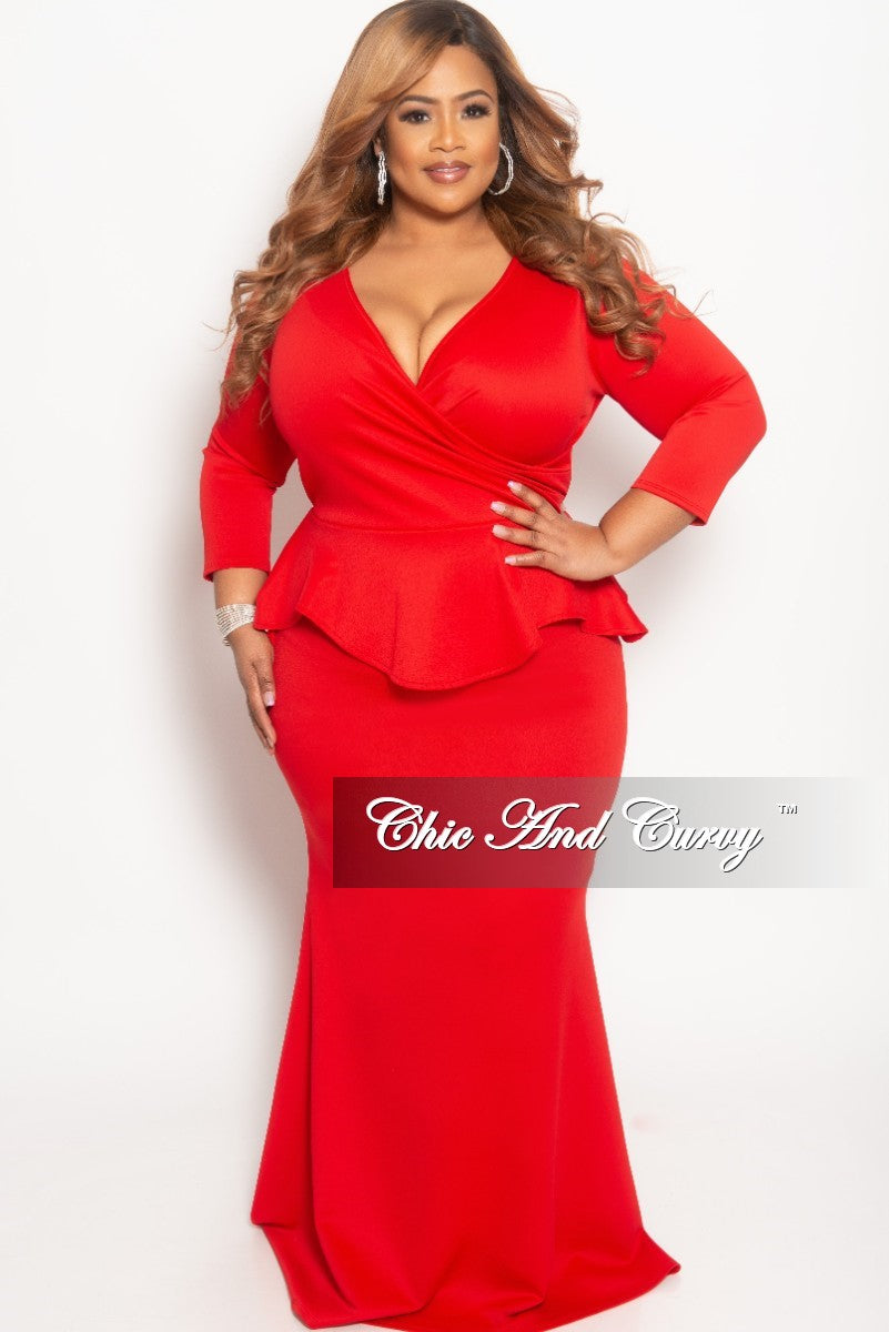 Final Sale Plus Size BodyCon Dress with Faux Wrap Peplum Top in Red