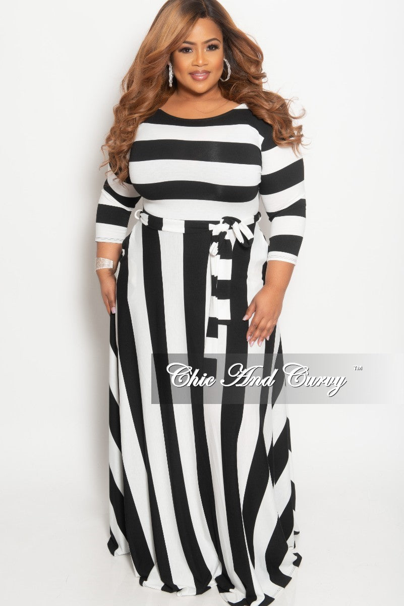 caf5a87323a Final Sale Plus Size Stripe Long Dress with 3 4 Sleeves and Attached T –  Chic And Curvy