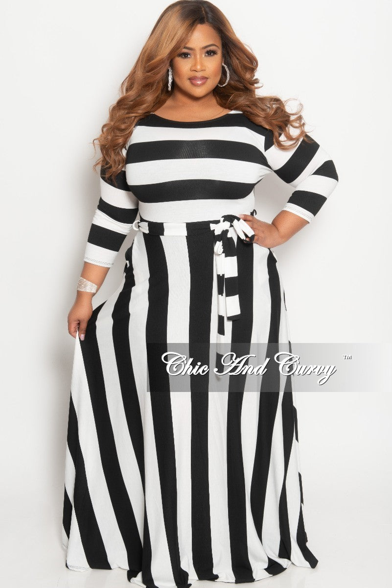 Final Sale Plus Size Stripe Long Dress with 3/4 Sleeves and Attached Tie in Black and White
