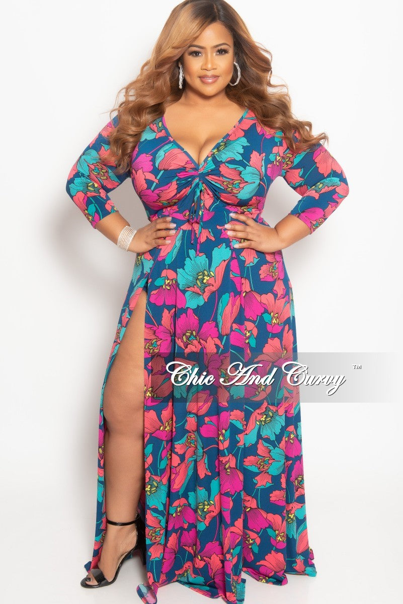 d534e14330e Final Sale Plus Size Maxi Dress with Double Slits and Bodysuit Lining –  Chic And Curvy