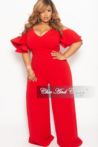 fcea98bb46b35 New Plus Size Faux Wrap Cold Shoulder Jumpsuit with Ruffle Sleeves in Red.    68.00. New Plus Size Cold Shoulder Peplum BodyCon Dress with Bell ...