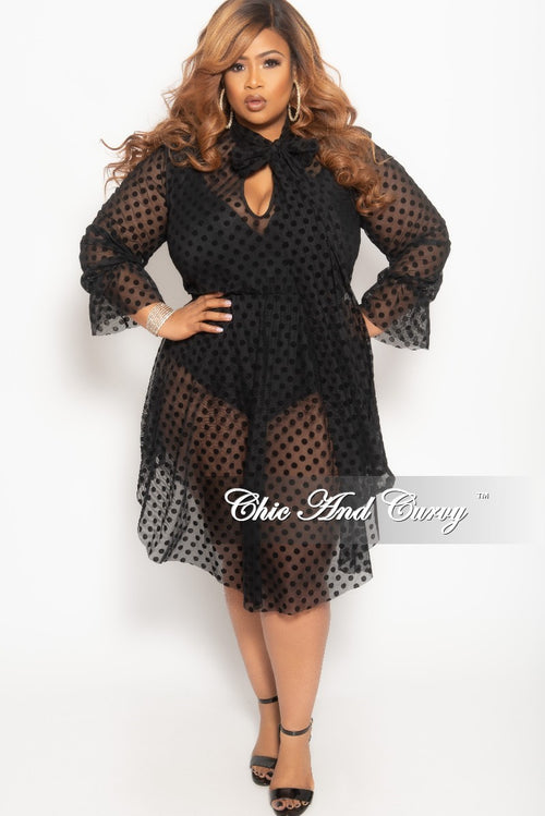 Final Sale Plus Size Sheer Mesh Bow Tie Polka Dot Dress in Black
